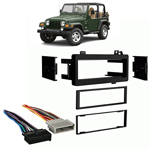 Harness Jeep Wrangler - Fits Jeep Wrangler 1997-2002 Single DIN Stereo Harness Radio Install Dash Kit