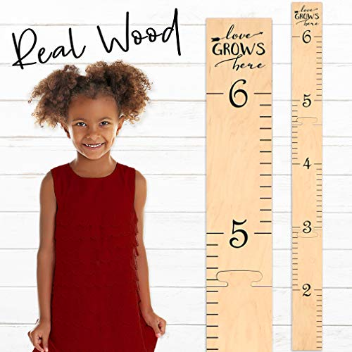 - Growth Chart Art | Wooden Wall Growth Chart Ruler for Kids, Girls + Boys | Measuring Kids Height Wall Décor | Naked Birch/Black Lettering