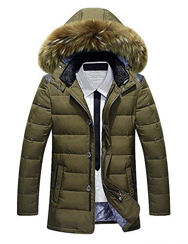 BININBOX® Herren Fashion Daunenmantel Daunenjacke Parka mit Fellkapuze Wintermantel (Armeegrün, Deutsche Gr.S/Hersteller Gr.XL)