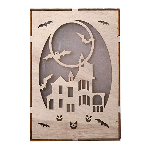 Shuohu Wooden Rectangle Haunted House Pendant,Pumpkin LED Night