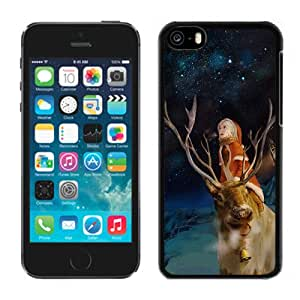 New Pupular And Unique Designed Case For iPhone 5C With Merry Christmas With Rudolf Black Phone Case
