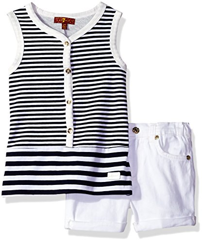 Price comparison product image 7 For All Mankind Toddler Girls' Stripe Tank and Denim Short Set, Night, 3T