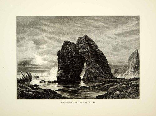 1877-wood-engraving-freshwater-bay-isle-wight-england-europe-arch-rock-landmark-original-in-text-woo