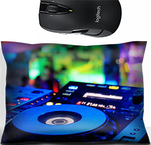 Liili Mouse Wrist Rest Office Decor Wrist Supporter Pillow Dj CD player and mixer in disco Photo 20240039 (Fabric Mix Cd)