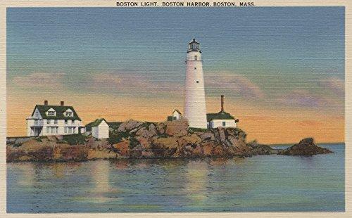 Boston Harbor Lighthouse - Boston, Massachusetts - Boston Lighthouse at Boston Harbor #2 - Vintage Halftone (16x24 Fine Art Giclee Gallery Print, Home Wall Decor Artwork Poster)