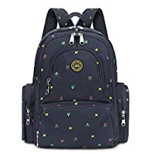 S-ZONE 16 Pockets Baby Diaper Bag Organizer Water Resistant Oxford Fabric Travel Backpack with Changing Pad and Stroller Straps (Dark Blue Flower Print)