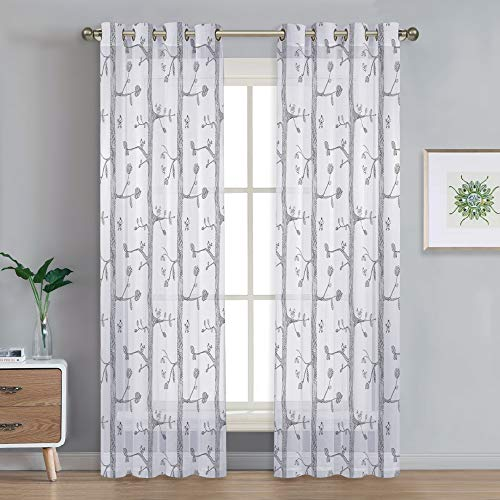 NICETOWN Nordic Style Long Sheer Curtains Birds on The Tree Pattern Design White Grommet Window Drapes/Panels for Living Room/French Sliding Door/Porch (52
