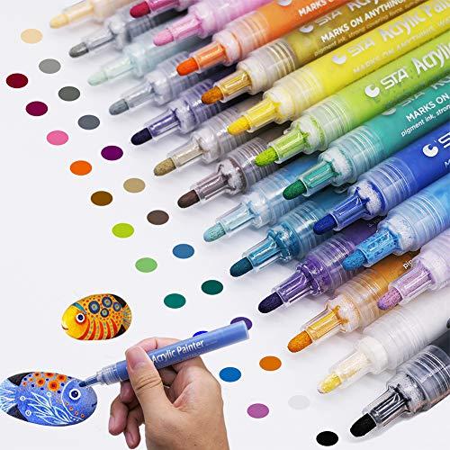 Acrylic Paint Marker Pens, Set of 24 Colors Permanent Paint Pens for Rock Painting, Ceramic, Porcelain, Glass, Wood, Fabric, Canvas, Photo Album, DIY Craft, School Project