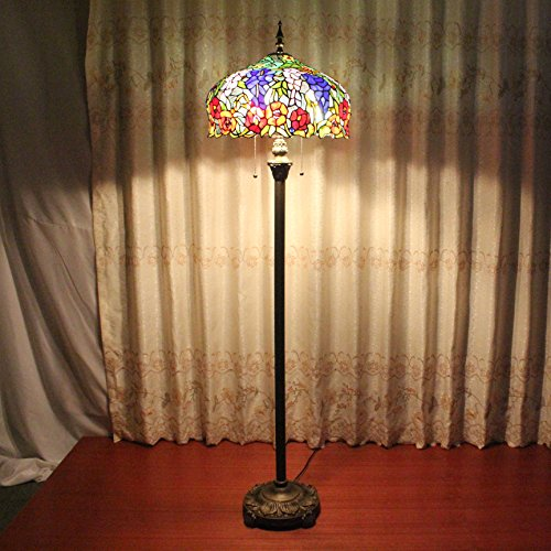 Royal- 16 inch Wild retro luxury living room bedroom den pastoral Tiffany stained glass window of rustic handmade floor lamp by Floor Lamp (Image #3)