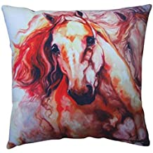 Thunder Theme Couch Sofa Pillow with Two Galloping Horses Design
