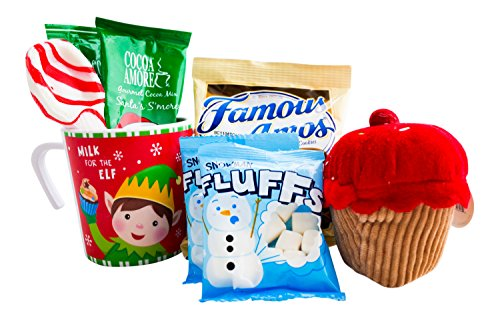 Christmas Hot Cocoa and Cookies Gift For Kids With Mug, Hot Chocolate, Marshmallows, Cookies, Xmas Plush, and a Candy Cane Spoon - Best Gift Idea For Children or Grandchildren(Elf)