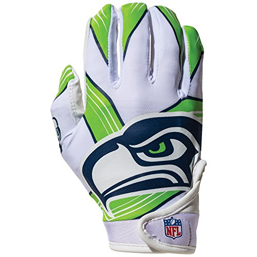 Franklin Sports NFL Seattle Seahawks Youth Receiver Gloves,White,Medium