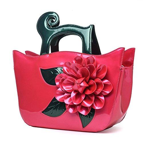Eleganti Borsa Fiore Pelle Borse Tracolla rosso Borse Verniciata KAXIDY Borse Rosa Tg6qZB