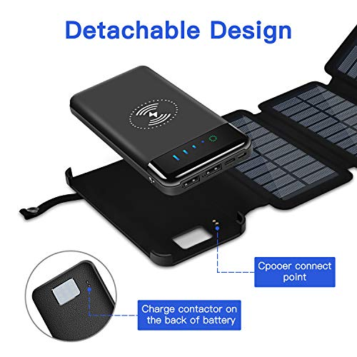 CXLiy Solar Power Bank Qi Portable Charger 10,000mAh External Battery Pack Solar Panel Charging Backup Charger with 2 Inputs 2 USB Outputs LED Flashlight Compatible Most Smart Phones Tablets and More
