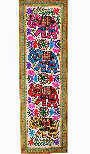 (Purpledip Cotton Tapestry 'Elephant Jambooree': Vintage Embroidery Table Runner Or Wall Hanging (11356))