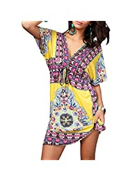 Deep V Bohemia Beach Dress Cover Up