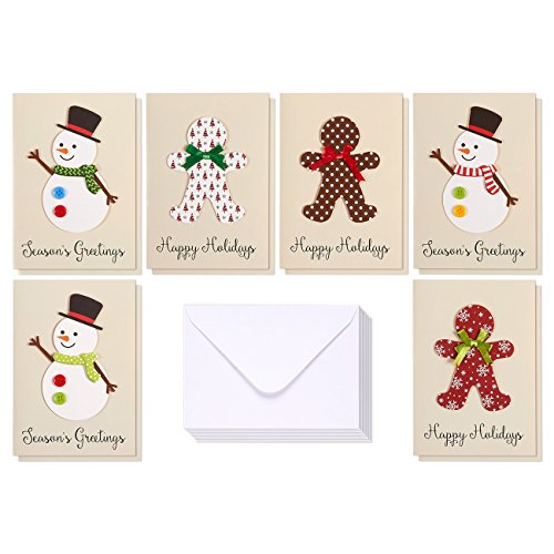 Set of 12 Merry Christmas Greetings Cards - Happy Holidays and Season's Handmade Xmas Cards in 6 Snowman and Gingerbread Man Themes, Includes White V-Flap Envelopes, 5 x 7 Inches (Stationery Cards Christmas)
