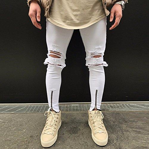 Denim Jeans Lunghi Con Pantaloni Slim Casual Luoluoluo Cerniera Strappato Uomo pantaloni Da Bianca Elasticizzati Uomo Fit Skinny HdInwqPRx