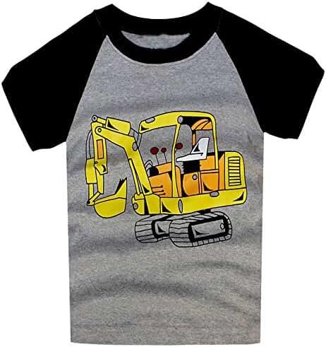 Little Boys Short Sleeve Fire Truck Tee Cotton Toddler/Infant Kids Casual T-Shirt