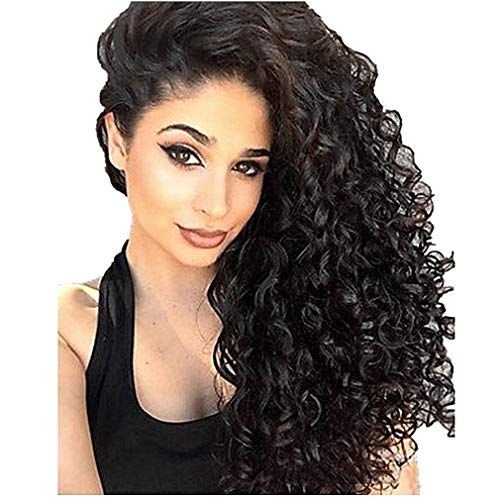 Women Wig Brazilian Long Curly Heat Resistant Wig Bob Wave Black Natural Looking Hair Full for Party Cosplay Costume (Black)