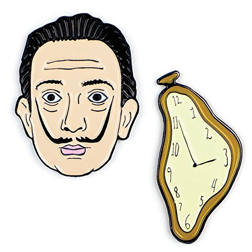 (The Unemployed Philosophers Guild Dali and Watch Enamel Pin Set - 2 Unique Colored Metal Lapel Pins)