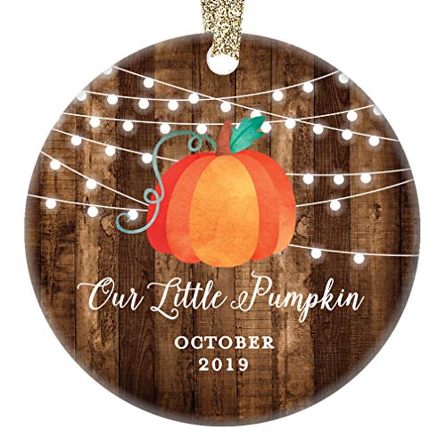 Baby Shower Porcelain - Little Pumpkin Christmas Ornament 2019 Cute October Birth Due Date New Mom & Dad Son Daughter Baby Shower Present Newborn 1st Holiday Ceramic Keepsake 3