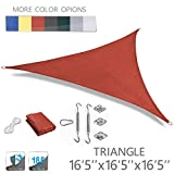 Love Story 16'5'' x 16'5'' x 16'5'' Triangle Terra UV Block Sun Shade Sail with Stainless Steel Hardware Kit Perfect for Outdoor Patio Garden