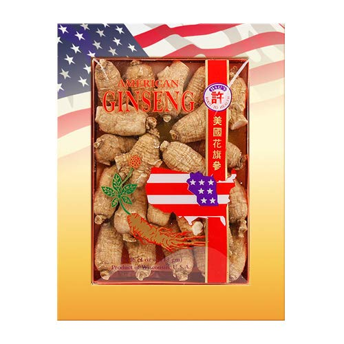 SKU #0112-4, Hsus Ginseng Short Medium Cultivated American Ginseng Roots (4 oz = 113 gm / box), with one free single American ginseng tea bag, 112-4, 112.4