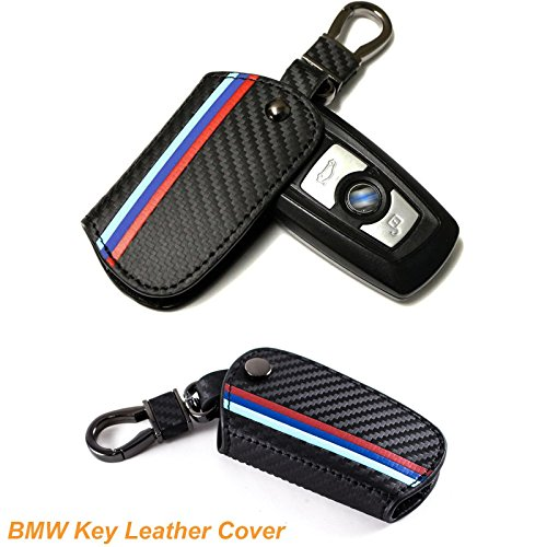Key Fob with Keychain for BMW, M-Colored Stripe Carbon Fiber Pattern Key Holder Cover Case for BMW 1 2 3 4 5 6 7 Series X3 X4 M5 M6 3/4 - Fiber Carbon Pattern