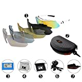 Jimmy Orange Multi Sport Sunglass Polarized Goggle with 5 Interchangeable Lenses Mirrored Outdoor Running Cycling Sunglasses with Carrying Case with Hook JO0868 (white)