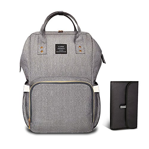 Pipi bear Diaper Bag Backpack Travel Large Spacious Tote Shoulder Bag Organizer Linen Gray