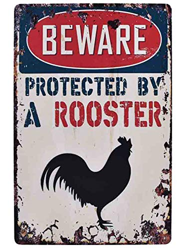 - Flytime Beware Protected by A Rooster Chicken Sign Vintage Designs Farm Bar Sign Country Home Decor Wall Decor Indoors Metal Coffee Art Poster 8X12Inch