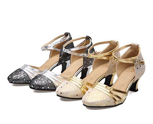 Satin Sandali Med Ragazza Della 39 Professionista Shoe Scarpe altri Colori Delle Ballroom silver Donne Latino Superiore Salsa Dance qY1xwf