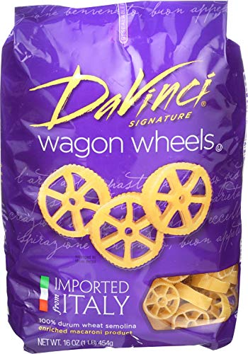 DaVinci Pasta Short Cuts, Wagon Wheels, 16 Ounce Bags (Pack of 12) (Da Vinci Pasta)