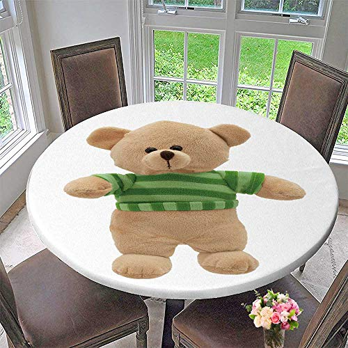 PINAFORE HOME Round Premium Tablecloth Teddy Bear Stuffed Animal Toy wear Green Striped top Stain Resistant 59