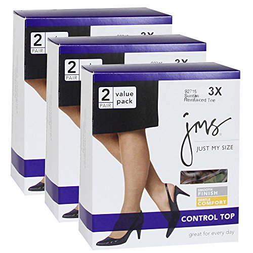 Just My Size Women`s Set of 3 Smooth Finish Control Top RT - Best-Seller! 4X, Off Black