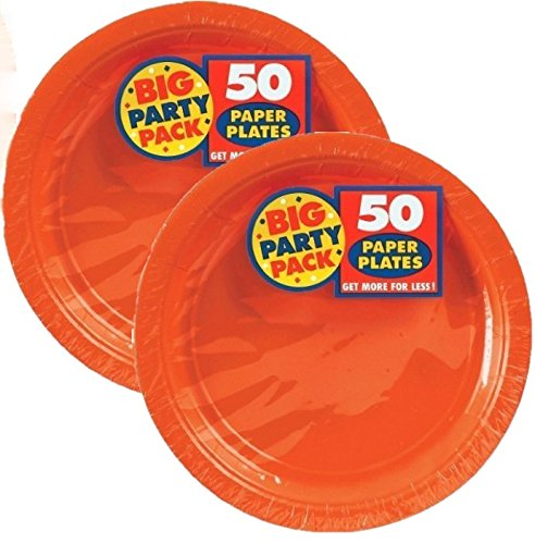 Orange Plastic Plates (Amscan Orange Big Party Pack Dinner Plates (100 Count), 9-Inch, 1,)