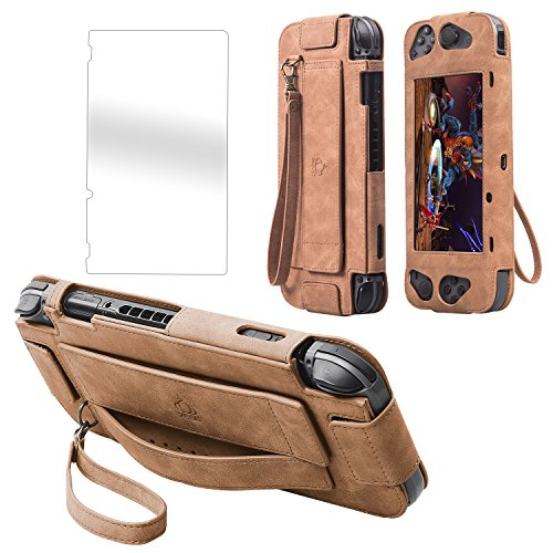 One Leather Art Tour,XGUO Leather Carry Case Cover for Nintendo Switch With Wrist Strap And Lanyard-Brown