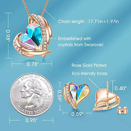CDE Love Heart Necklaces and Earrings Jewelry Set for Women Rhodium Plated/Rose Gold Tone Crystals Birthstone Gifts for… 3
