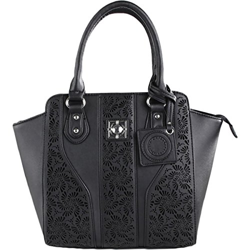 Catherine Malandrino Womens Collette Leather Cut-Out Tote Handbag Black Large