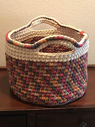 Crochet basket in earth tones - handmade ()
