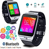 Indigi SWAP2 GSM Unlocked Bluetooth SmartWatch Phone Camera Color TouchScreen Caller ID ~Unlocked AT&T T-Mobile~ (Silver)
