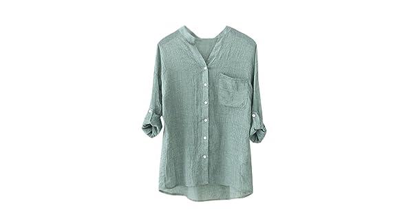 c5338a84 BeautyVan Clearance Deals ! Women Blouse, 1PC Women Cotton Solid Long  Sleeve Shirt Casual Loose Blouse Button Down Tops