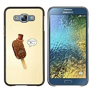 EJOOY---Cubierta de la caja de protección para la piel dura ** Samsung Galaxy E7 E700 ** --Helado Gentleman divertido