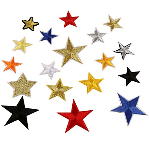 Yalulu 38Pcs Mixed Random Star Embroidered Iron On/Sew On Badge Applique Patch for Clothing ()