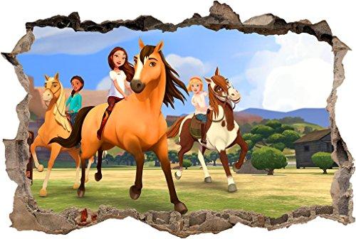 Spirit Riding Free 3D Smashed Wall Sticker Decal Art Mural Horses Kids J593, Regular