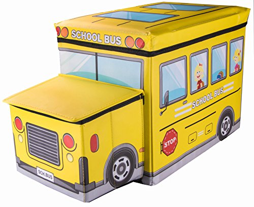 School Bus Collapsible Storage Organizer by Clever Creations | Storage Box Folding Storage Ottom ...