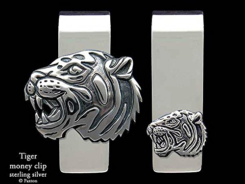 Tiger Head Money Clip in Solid Sterling Silver Hand Carved, Cast & Fabricated by Paxton by Paxton Jewelry