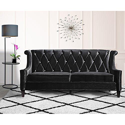 (Armen Living LC8443BLACK Barrister Sofa in Black Velvet and Black Wood Finish)