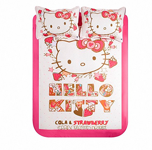 Kpblis®Pink Princess Style Hello Kitty Print Cartoon Bedding Sets For Girls